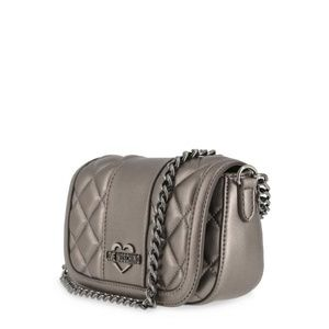 beeb3cc6467b Love Moschino Bags - Love Moschino Grey Leather Clutch Bag